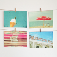 Brighton Rock - Seaside art, Set of Four Postcards