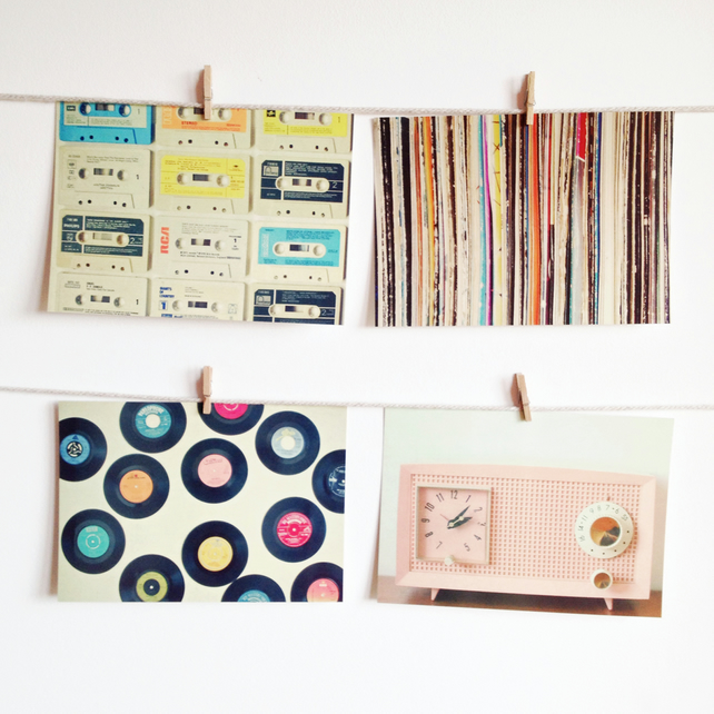Retro Music Postcard Set, Vinyl Records and Cassettes - Easy Listening