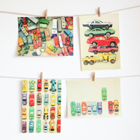 Toy Car Postcard Set, Retro Photography - Cars