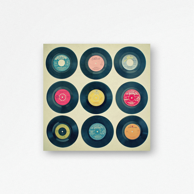 Vinyl Record Wood Wall Hanging, Wood Print - Vinyl Collection
