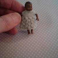 12th Scale Miniature Baby Doll's Dress Knitting Pattern