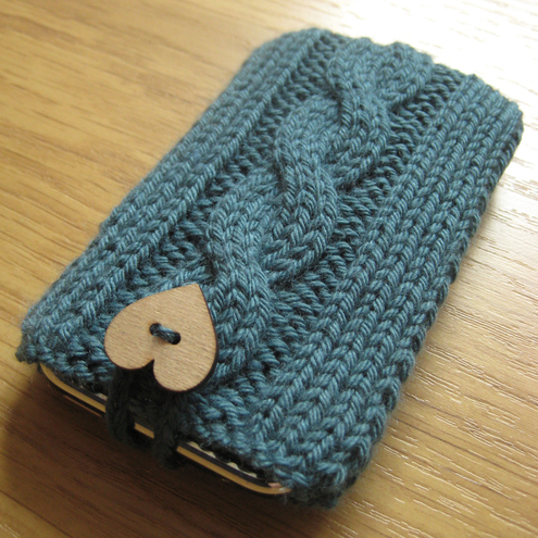Hand Knitted Teal Mobile Phone Cozy - Folksy