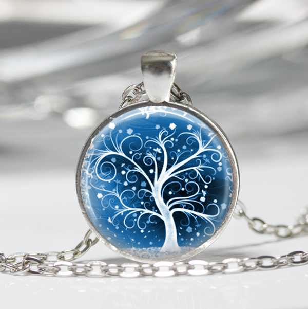 White Winter Tree Necklace, Glass Pendant, Tree Pendant, Glass Jewellery (119)