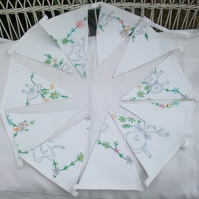 Custom Order for Vintageandfound - Vintage Embroidered Linen Bunting