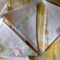 Vintage Embroidered Linen Bunting