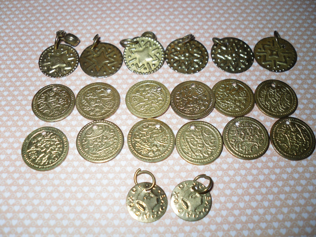 Gold coins and disc charms