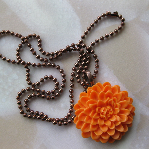 Orange Chrysanthemum Copper Pendant