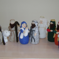 Hand knitted Christmas Nativity Set, Xmas Nativity scene