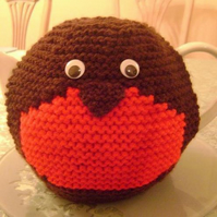 Hand Knitted Robin Redbreast Tea Cosy, teapot cozy