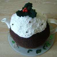 Hand knitted Xmas plum pudding tea cosy, Christmas teapot cozy