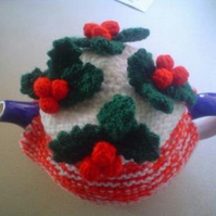 .HAND KNITTED XMAS COSY WITH BERRIES AND LEAVES