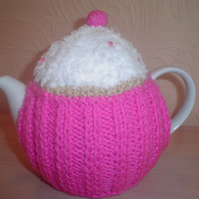 Hand knitted pink cup cake tea cosy, teapot cozy with beads- mothers day, easter