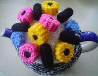 Hand knitted tea cosy, cozy with liquorice sweets. Gift for all occassions