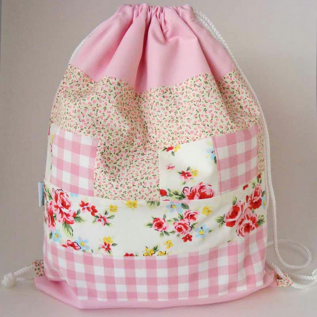 Girls Waterproof Backpack, Rucksack, PE Bag, Swim Bag - Pink Patchwork