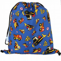 Drawstring Backpack, PE Bag, Swim Bag - Digger Trucks
