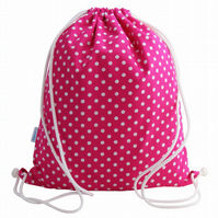 Girls Backpack, Swim Bag or PE bag - Pink Polka Dot
