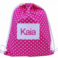 Personalised Swim Bag, Backpack, PE Bag - Pink Polka Dot