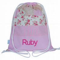 Personalised Pink Patchwork Nursery Bag, Backpack, PE Bag, Swim Bag for Girls