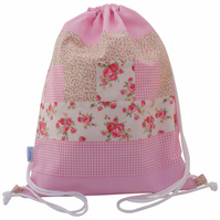 Girls Swim Bag, Drawstring Backpack, Ballet Bag - Pink Patchwork