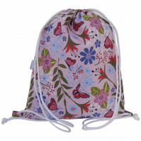 Swim Bag, Backpack, Rucksack - Pink Butterfly