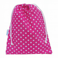 Drawstring Wash Bag, Toiletry Bag - Pink Polka Dot