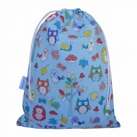 Drawstring Wash Bag, Toiletry Bag - Forest Animals