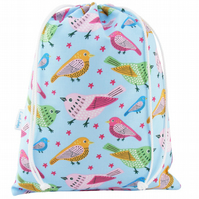 Drawstring Wash Bag, Toiletry Bag - Birds
