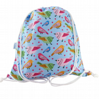 Drawstring Backpack, PE Bag, Swim Bag - Birds