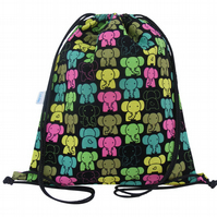 Elephant Drawstring Backpack, Swim Bag, PE Bag