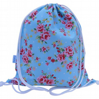 Girls Drawstring Backpack, PE Bag, Swim Bag - Rose