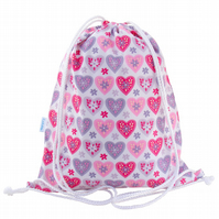 Girls Drawstring Backpack, PE Bag, Swim Bag - Hearts