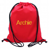 Personalised Backpack, Swim Bag, PE Bag - Red