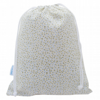 Blue Floral Drawstring Wash Bag, Toiletry Bag