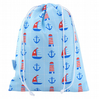 Drawstring Wash Bag, Toiletry Bag - Nautical