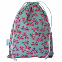 Drawstring Wash Bag, Toiletry Bag - Butterfly