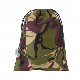 Drawstring Wash Bag, Toiletry Bag - Green Camouflage