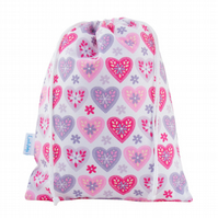 Drawstring Wash Bag, Toiletry Bag -Hearts