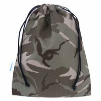 Drawstring Wash Bag, Toiletry Bag - Desert Camouflage