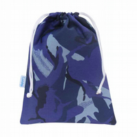 Drawstring Wash Bag, Toiletry Bag - Blue Camouflage