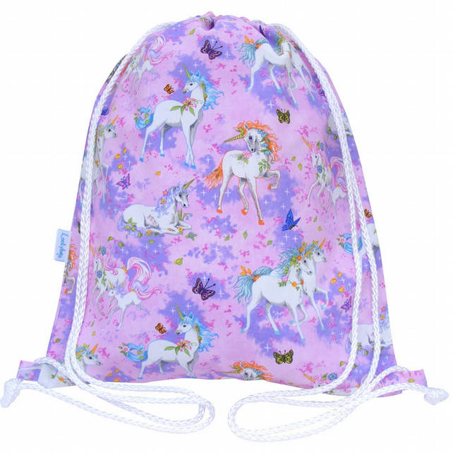 Unicorn Drawstring Backpack, PE Bag, Swim Bag