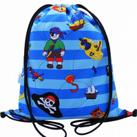 Blue Pirate Waterproof Backpack, Swim Bag, PE Bag