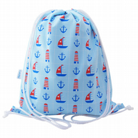 Nautical Drawstring Backpack, PE Bag, Swim Bag
