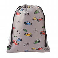 Drawstring Wash Bag, Toiletry Bag - Racing Cars
