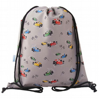 Drawstring Backpack, PE Bag, Swim Bag - Racing Cars