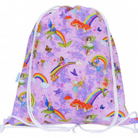 Fairy Drawstring Backpack, PE Bag, Swim Bag
