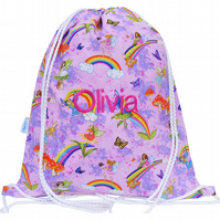Girls Personalised Swim Bag, PE Bag, Backpack - Rainbow Fairy