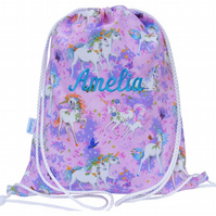 Girls Personalised Swim Bag, PE Bag, Drawstring Backpack - Unicorn