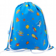 Kids Drawstring Backpack, PE Bag, Swim Bag - Space