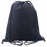 Drawstring Backpack, PE Bag, Swim Bag - Black