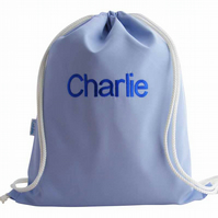 Personalised Backpack, Swim Bag, PE Bag - Pale Blue
